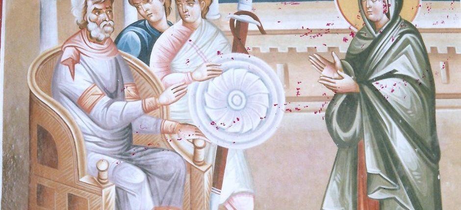 Τοιχογραφία εσωτερικά του Ναού της Αγίας Παρασκευής, λεπτομέρεια από τη ζωή της Αγίας Παρασκευής.