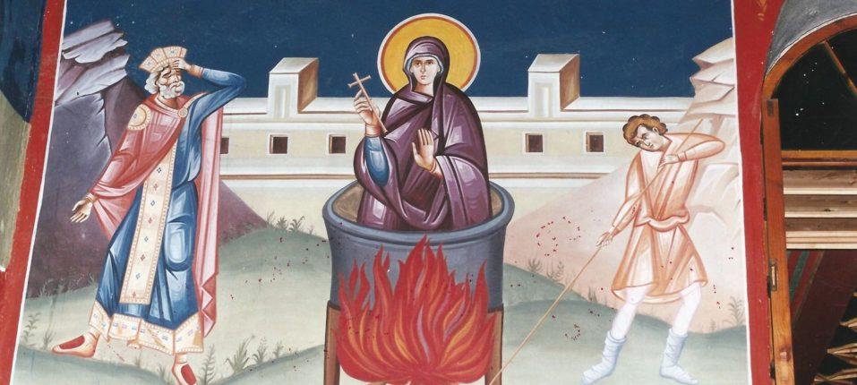Τοιχογραφία εσωτερικά του Ναού της Αγίας Παρασκευής, λεπτομέρεια από το μαρτύριο της Αγίας Παρασκευής.
