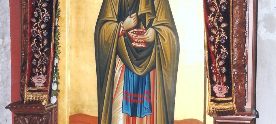 Προσκυνητάρι μεγάλο της Αγίας Παρασκευής, έργο του Αγιογράφου Κ. Ξενόπουλου. Αριστερά στο Νάρθηκα.