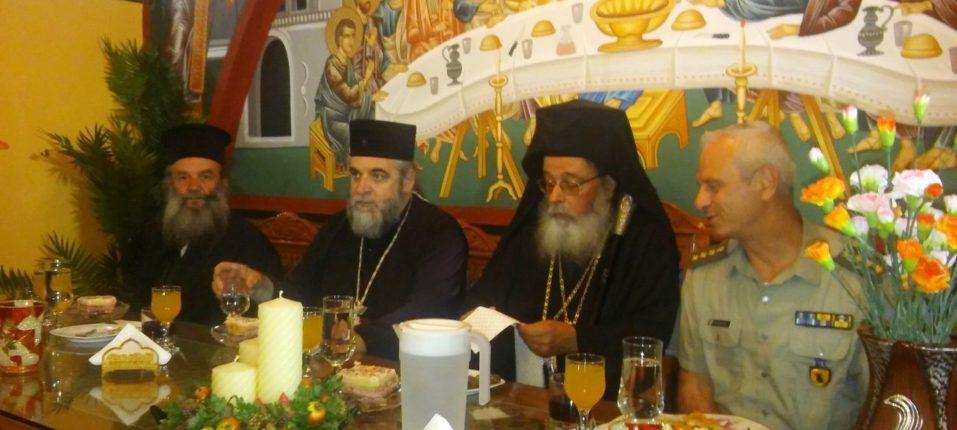 Ο Σεβασμιώτατος Μητροπολίτης Ζιχνών και Νευροκοπίου κ.κ. Ιερόθεος μετά των επισήμων στην τραπεζαρία μετά την Εορτή της Αγίας.